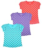 #10: MINNOW Girls Heartin Printed Cotton Tshirt(Pack of 3)