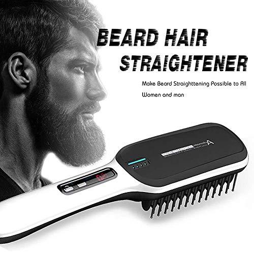Spazzola per raddrizzatore dei capelli - Spazzola liscia per barba ionica, Spazzola elettrica per piastra per capelli ceramica PTC, Display digitale LCD 100-240 V