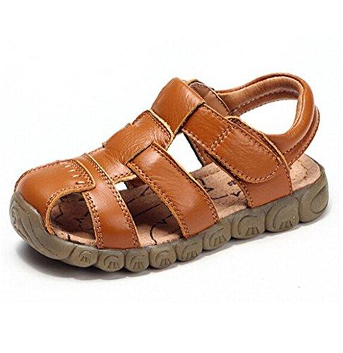 AILEESE Baby Jungen Fisherman Leder Geschlossen-Toe Sandalen Sommer Strand Flache Schuhe (Kleinkind / Little Kid / Big Kid)- Gr. EU 23/ UK 6 / einlegesohle länge :14.3cm, Gelb