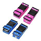 4 Stück Koffergurt Gepäckgurt, HO-TEK Kofferbänder der Koffer mit Schnalle und Namensschild, Einstellbar für 10