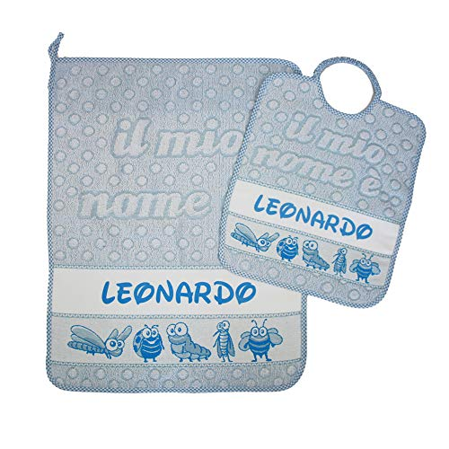 Set asilo personalizzato con nome composto da 2 pezzi:bavaglino spugna con elastico cm.28x33,asciugamano cm.40x55 con fascia personalizzati cotone 100% made in italy (azzurro) - consegna tempestiva