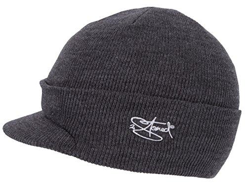 2Stoned Mütze mit Schirm Visor Beanie Cap Deluxe, One-Size Herren, Dark Grey Melange -