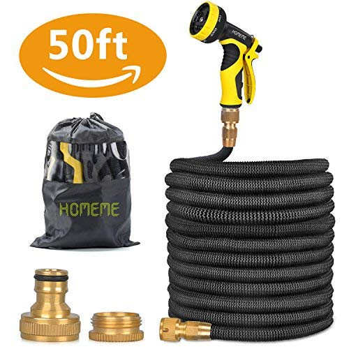 Garden Hose, Homeme 50 Feet Newest Expandable Strongest Magic Hose Pipe with Solid Brass Fittings & 9-pattern Spray Nozzle (Black)