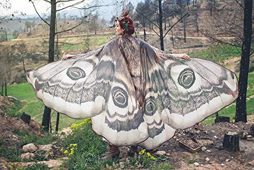 Motte Flügel Schmetterling Umhang Fee Mantel braun und weiß Kostüm Erwachsene Braut Fee Handfasting