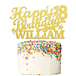 Howson London Happy 18th Birthday Cake Topper Personalised 400 Gram Double Sided Glitter Decoration