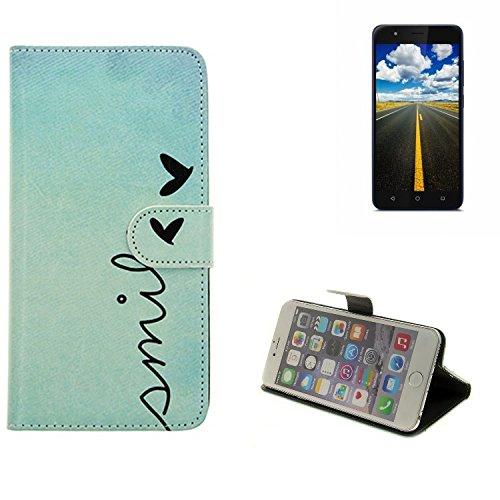 K-S-Trade Gigaset GS270 Plus Hülle Wallet Case Schutzhülle Flip Cover Tasche bookstyle Etui Handyhülle ''Smile'' türkis Standfunktion Kameraschutz (1Stk)