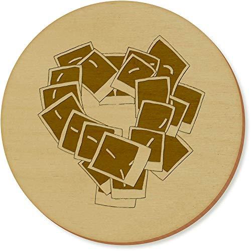 Azeeda 6 x 'Polaroid Herz' Runde Hölzerne Untersetzer (CR00030865)