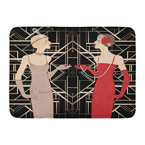 Sheho Rutschfeste Fußmatten Roaring Flapper Girl Retro Party 1920er Jahre 20er Jahre 1930er Jahre 30er Jahre dauerhafte Hauptdekor-Matte 23,6 x 15,7 ()
