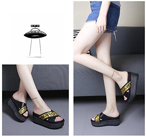 Femmes Chaussures Talons Ouverts Calcaires éTé Chaussons Talons ImperméAbles En Cuir Mode Chaussures Talons Hauts En Cuir Black