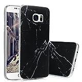 S7 Marmor Hülle, KASOS Marble Handyhülle : Silikon Case Weich TPU Huelle mit IMD Technologie für Samsung Galaxy S7, Schwarz