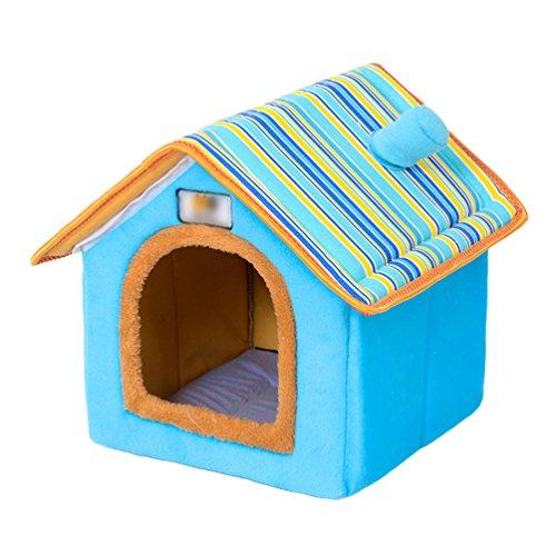 LvRao Haustier Haus Hund Katze Plüsch Bett Höhlenbett Faltbar Abnehmbar Klein Hundehaus Hundehöhle Kuschelhöhle (Blau, S) -