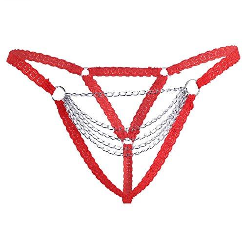YiZYiF Frauen String Tanga V-string Slip Erotik Unterwäsche Damen Tangas Unterhose Schlüpfer mit Kette S-XL Rot M (Knickers Unterwäsche French)