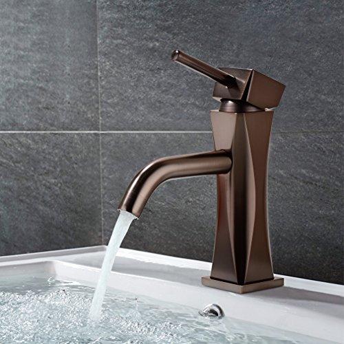 Kupfer-waschbecken (BONADE 59-Kupfer Retro Waschtischarmature Waschbecken Bad Armatur Mischbatterie Einhebel Wasserhahn für Badezimmer Braun)