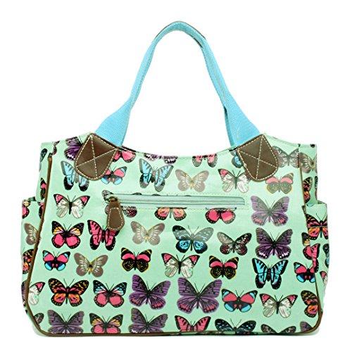 Miss Lulu Damen Wachstuch Handtasche Schultertasche Einkaufstasche Tasche Shopper Gepunktet Eule Blumen Schmetterling Schmetterling Grün
