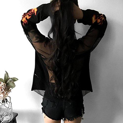 Morwind Sweat à Capuche Femme, Flamme imprimé Mid-long hoodies femme sweatshirt pullover femme chic Noir