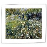 JH Lacrocon Pierre-Auguste Renoir - Frau mit Regenschirm in Einem Garten Leinwandbilder Reproduktionen Gerollte 90X75cm - Landschaft Gemälde Komplett Texturiert 3D Gedruckt Wandkunst