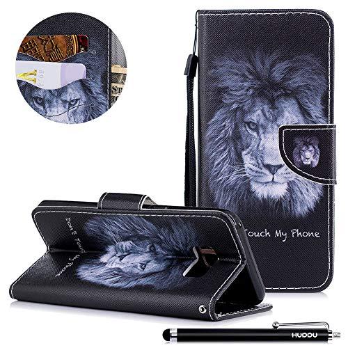 HUDDU Compatible for Schwarz Lion Handyhülle Samsung Galaxy S8 Hülle Flip Wallet Case Ledertasche Kartenfach Magnet Stand Lederhülle Etui Handy Cover Schutzhülle Tasche Leder Klapphülle Bunt Muster