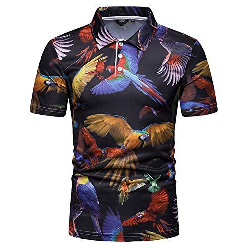 XJWDTX Fashion Summer Herren Parrot Print Kurzarm Polo Kurzes T-Shirt -