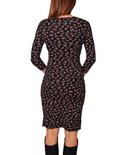 KRISP® Damen Knielanges Gemustertes Wickelkleid Floral/Blumenmuster (4273)