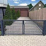 Cancello a doppia anta 400 cm cancello da giardino cancello d'ingresso Hoftor grigio con set serratura, Grigio