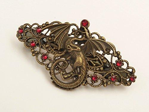 Haarspange mit Drachen in bronze rot Mittelalter Haarschmuck