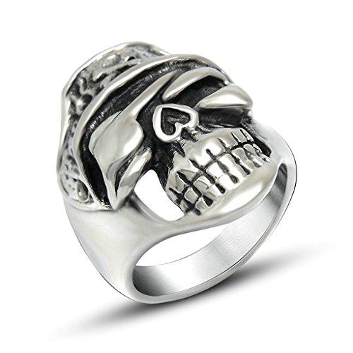 Anyeda Ring Edelstahl Männer Schädel-Ring Silber Schwarz Ring Herren Punk Ringgröße 60 (19.1) - Männer Aventurin Für Ringe