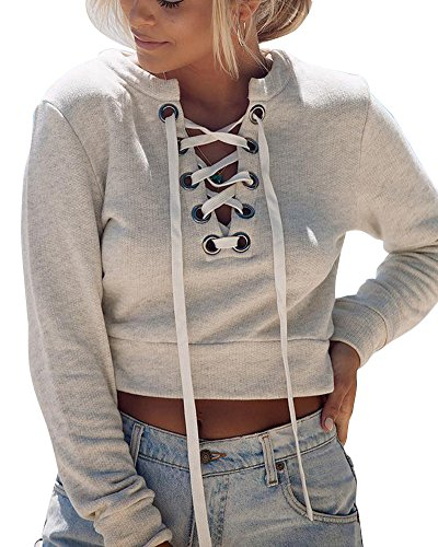 Donne Casual V collo Crop Top Pullover Manica lunga Felpe Grigio