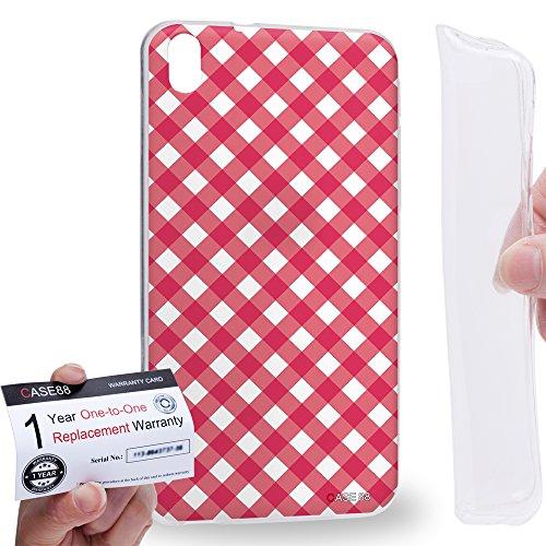 Case88 [HTC Desire 816] Gel TPU Hülle / Schutzhülle & Garantiekarte - Art Coloured Doodle Patterns Pink Checker Art1406 Checker Tpu Gel