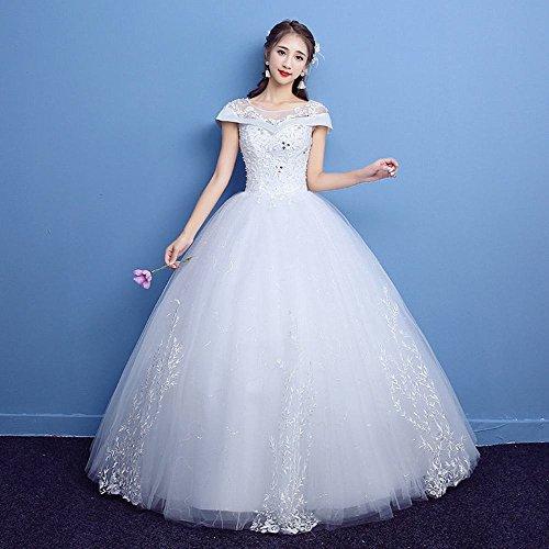 LFF Schulter Runde Krawatte Hochzeitskleid Schlank War groß Braut Brautkleid Qi Tutu Rock,Weiß,XL