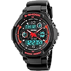 QBD Men's Boy's Analogue Digital 50M Waterproof Military Sport Watch Mens Big Face Dual Dial Business Casual Multifunction LCD Back Light Electronic Wrist Watches Shock Resistant Wristwatch (Red)