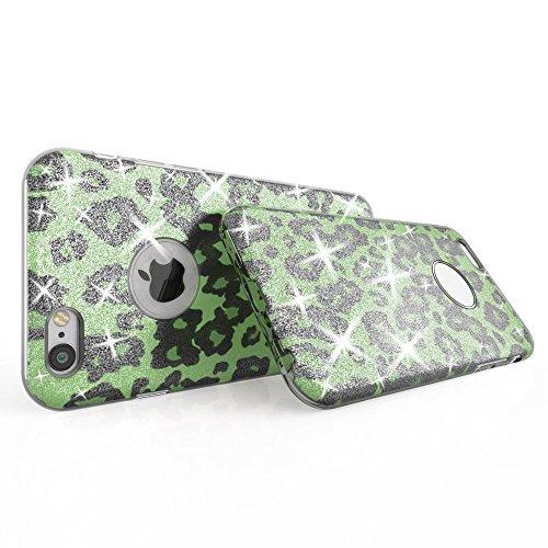 iPhone 6 6S Hülle Handyhülle von NICA, Glitzer Leopard Ultra-Slim Silikon-Case Back-Cover Schutzhülle, Glitter Leo Sparkle Handy-Tasche, Dünnes Bling Strass Etui für Apple i-Phone 6S 6 - Türkis Blau Grün