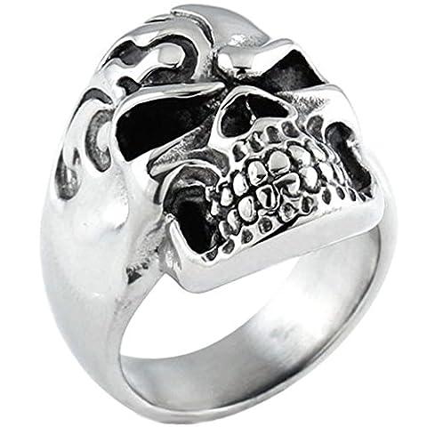 Aooaz Schmuck Herren Ring,Retro Biker Totenkopf Schädel Edelstahl Ring für Herren Silber Schwarz