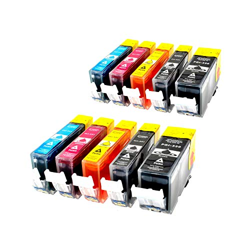 10er Set Druckerpatronen für Canon kompatibel zu PGI-520bk/ CLI-521bk/ CLI-521c/ CLI-521m/ CLI-521y