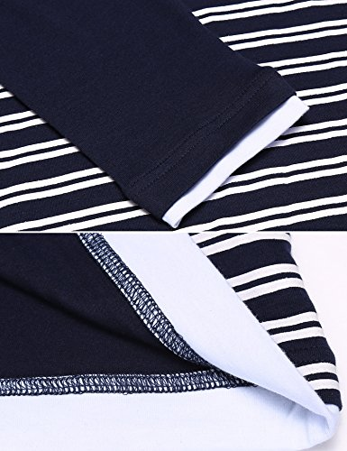 Coofandy Herren Langarmshirt mit Kaputze Langarm T-shirt Gestreift Pullover Stylisch Sweatshirt Kaputzenpullover Navy Blau