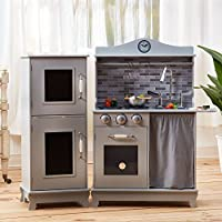 Teamson Kids - Sunday Brunch Wooden Play Kitchen for Toddler with Chalkboard, Refrigerator, Oven and Dishwasher - Grey | Pretend Play