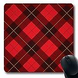 Luancrop Mousepads für Computer Wolle Rot Muster Wallace Tartan Scottish Plaid Weave Gelb Schwarz...