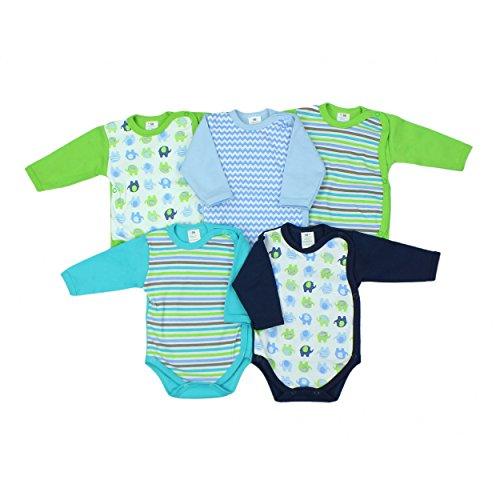 Baby Langarm-Wickelbody 5er Set Mädchen Langarmbody Baumwolle Body Jungen Babybody, Farbe: Junge, Größe: 62