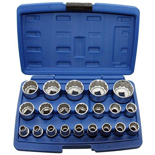 """ALKAN Steckschlüsseleinsätze (12-kant 1/2\""""-Antrieb)/Schraubenschlüssel-Einsatz, 8-36 mm, 21-teilig"""