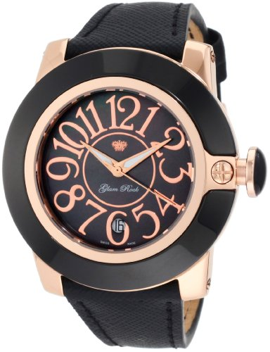Glam Rock Women's GR32000 SoBe Black Mother-Of-Pearl Black Leather Watch