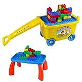 Große Bausteine Box mit Räder Zum Ziehen Plastik Baustein Spieltisch Spielen Zum Kinder 3 4 5 6 (81 Stücke)