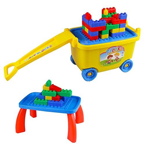 Große Bausteine Box mit Räder Zum Ziehen Plastik Baustein Spieltisch Spielen Zum Kinder 3 4 5 6 (81 Stücke) (Bau Rad)