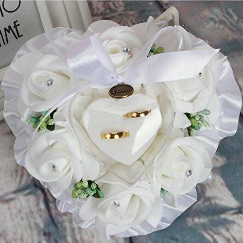 Ringkissen Weiß 15x15cm Röschen Satinschleife Spitze Hochzeitskissen Ring Kissen Ring Bearer Pillow, 01, 15 * 15cm