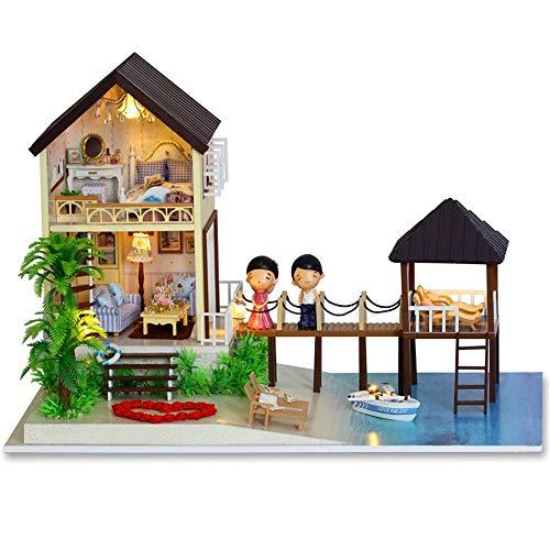 Kanqingqing Maison de poupée Miniature en Bois à Monter soi-même avec Meubles, Bois, Multicolore, 39 * 25 * 26.2cm