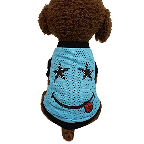 Kennella Haustier Welpen Sommer Mesh Weste Hund Katze Sweatshirt Sportswear Smiley T-Shirt