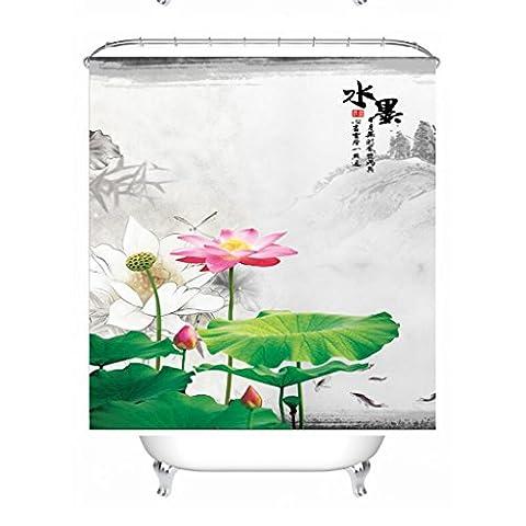 Douche Diy Rideau Costume - KKY-ENTER Simplicité moderne DIY Lotus Printing Flowers