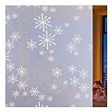 rabbitgoo Fensterfolie Schneeflocken Milchglasfolie Selbstklebend Sichtschutzfolie Dekofolie für Bad Kinderzimmer Folie statisch Anti-UV Upgrade 44.5 x 200 cm