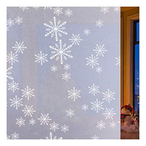 rabbitgoo Fensterfolie Schneeflocken Milchglasfolie Selbstklebend Sichtschutzfolie Dekofolie für Bad Kinderzimmer Fensterdeko Weihnachten Anti-UV Upgrade 90 x 200 cm