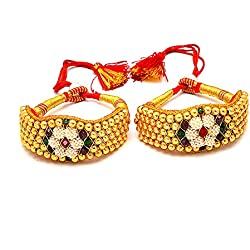Jewar Mandi Pearl BANGLE pocchi pochi pair Gold Plated ruby cz gemstone high new quality tanishq real diamond look ad 64747 for women girls