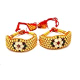 Jewar Mandi Pearl Bangle pocchi pochi Pair Gold Plated Ruby cz Gemstone high New Quality tanishq Real Diamond Look ad 64747 for Women Girls