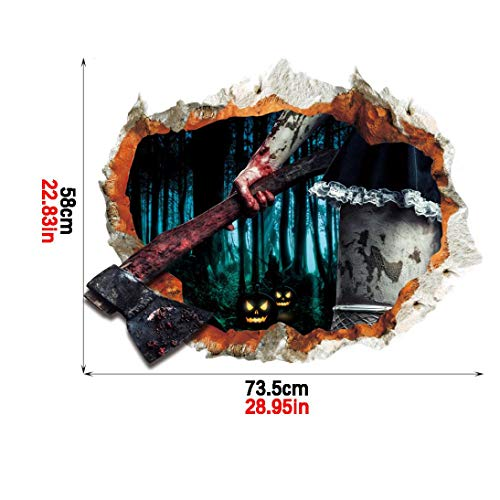 (LCLrute Dekor Vivid Ghost Bat Scary 3D Halloween Horror Wandaufkleber Aufkleber Abnehmbar (C))